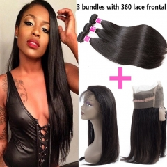360 Lace Frontal Closure With Bundles Straight Unprocessed Brazilian Straight Hair 3 Bundles with 360 Lace Closure Human Hair Weave Bundles Natural Bl