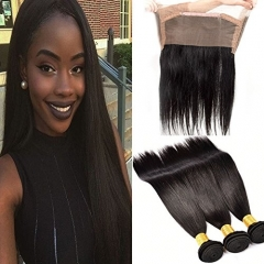 Brazilian Straight Virgin Hair with Closure 3 Bundles Human Hair with 360 Lace Frontal Closure Brazilian Virgin Hair