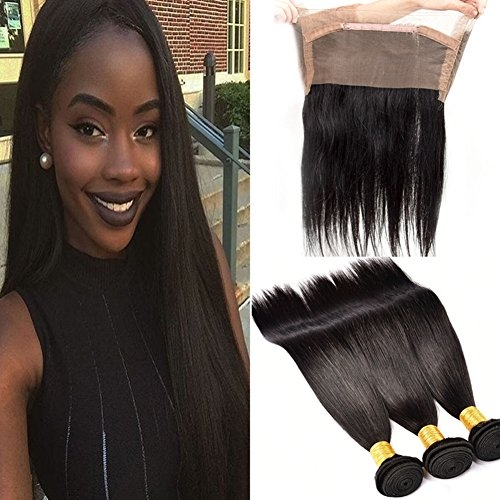 Brazilian Straight Remy Hair with Closure 3 Bundles Human Hair with 360 Lace Frontal Closure Brazilian Remy Hair
