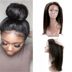 360 Lace Frontal with Hair Bundles Brazilian Virgin Hair Straight with Frontal Closure Pre-Plucked 360 Closure Natural Hair Line