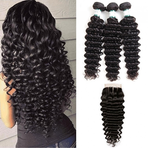 Brazilian Deep Wave 3 Bundles with Closure 8A Unprocessed Deep Curly Human Hair with Three Part Lace Closur Remy Hair