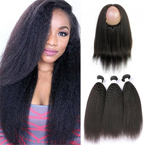 360 Lace Frontal with Bundles Pre Plucked Human Hair Extensions Kinky Straight 8a Brazilian Human Hair Weft with Baby Hair For Black Women