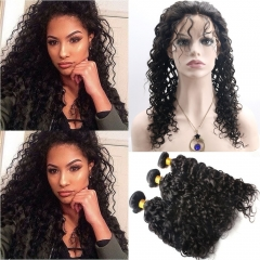 360 Band Lace Frontal Closures With Bundles 3pcs Brazilian Virgin Curly Hair 360 Full Lace Frontal Natural Color