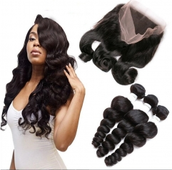 360 Lace Frontal Closure With Bundles Pre Plucked Lace Frontal Weave Wave Curly Peruvian Virgin Hair With Frontal Closure