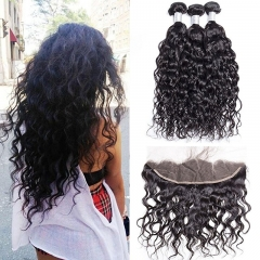 Brazilian Virgin Hair Bundles with Frontal Water Wave 3 Bundles With 13x4 Lace Frontal Closure Wet And Wavy Virgin Human Hair Weave Natural