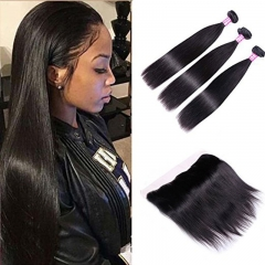 Natural Straight Hair 3 Bundles With Frontal Closure 13x4 Ear To Ear Lace Frontal With Bundles Unprocessed Virgin Human Hair