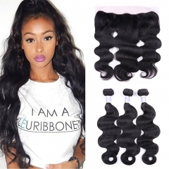 13x4 Ear To Ear Lace Frontal With Bundles Brazilian Body Wave 3 Bundles With Frontal Lace Closure