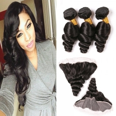 Loose Wave Hair Bundles With Closure 8A Full Lace Frontal 13X4 Wavy Human Hair Extensions 3 Bundle Double Weft