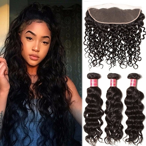 Good Quality Remy Hair 3 Bundles Natural Wave Hair with Free Part Lace Frontal Closure