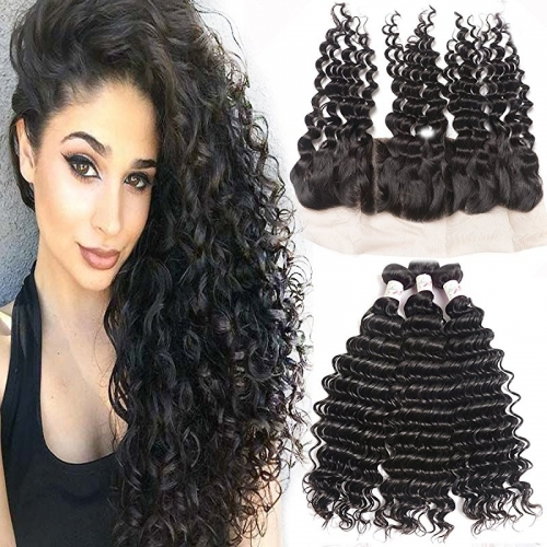 Remy Hair 3 Bundles with Lace Frontal Human Hair Bundles with 13x4 Unprocessed Deep Curly Remy Hair Extensions