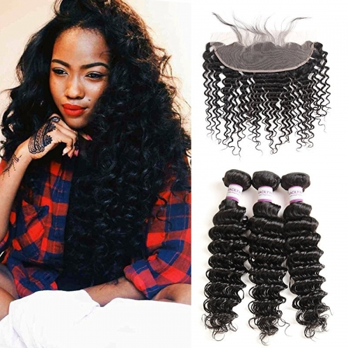 Brazilian Deep Wave Hair Bundles with Frontal Closure 13x4 Ear to Ear Pre Plucked Free Middle Three Part Sew in Human Wigs Lace Frontal