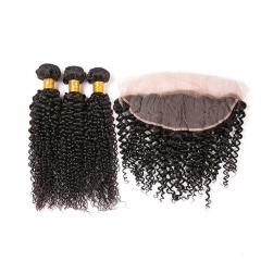 Kinky Curly Hair And Natural Brazilian Lace front Closure Remy Bundles Free Part Virgin 13x4  Human Hair