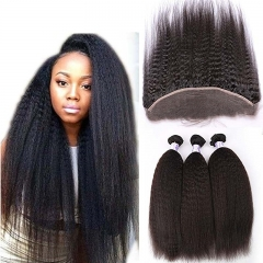 Malaysian Afro Kinky Straight Lace Frontal Closure 100% Virgin Human Hair With 13x4