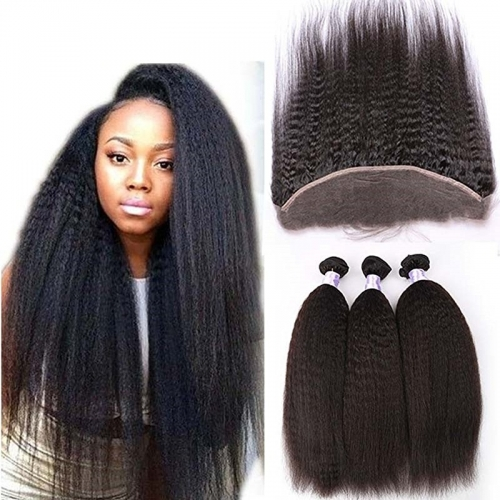 Malaysian Afro Kinky Straight Lace Frontal Closure Human Hair With 13x4