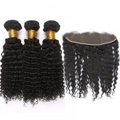 "Mongolian Kinky Curly Remy Hair With Frontal Closure 13""*4"" Lace Frontal Closure With Bundle"