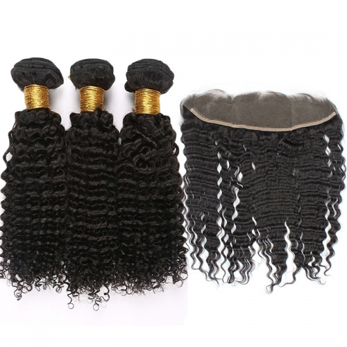 "Mongolian Kinky Curly Remy Hair With Frontal Closure 13""*4"" Lace Frontal Clo"
