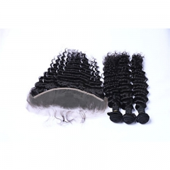 3Bundles 300g Brazilian Remy Human Hair Deep Wave Human Hair Wefts with Free Part 13x4 Lace Frontal Closures