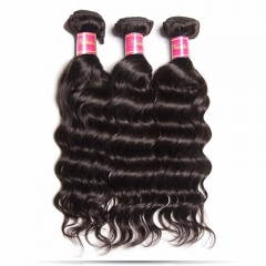 Good Quality Virgin Hair 3 Bundles Natural Wave Hair with Free Part Lace Frontal Closure