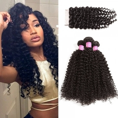 Unprocessed Human Curly Hair Malaysian Deep Curly Human Hair 3 Bundles With 4x4 Lace Closure