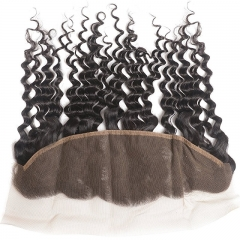 Virgin Hair 3 Bundles with Lace Frontal Human Hair Bundles with 13x4  Unprocessed Deep Curly Remy Hair Extensions