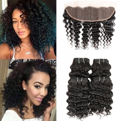 Brazilian Deep Wave Ear to Ear Lace Frontal Closure with Bundles Remy Hair