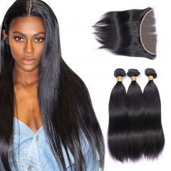 3 Bundles with Frontal 13x4 Ear to Ear Lace Closure Extensions Unprocessed Human Hair Brazilian Straight Remy Hair Weaves Natural Color