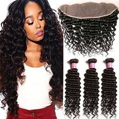 Virgin Brazilian Hair Deep Curly Bundles with 13x4 Ear to Ear Lace Frontal Closure 100% Unprocessed Human Hair Extensions