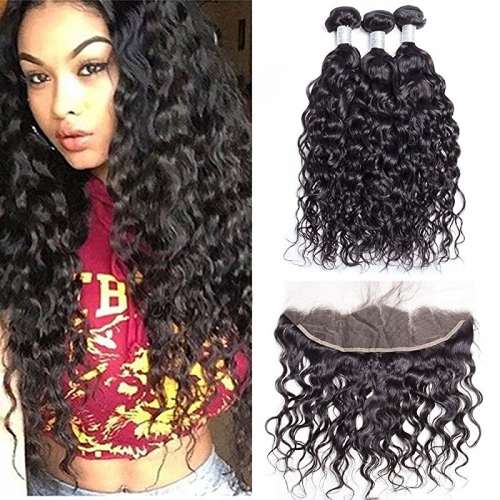 Water Wave 3 Bundles With Ear to Ear Lace Frontal Closure Unprocessed Peruvian Human Hair Weave with 13x4 Inch Full Lace Frontal With Baby Hair