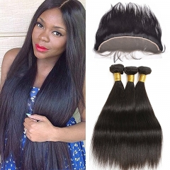 "3 Bundles Hair Weave Silky Straight Hair Brazilian Virgin Frontal Lace Closure ""13X4"" Natural Color"