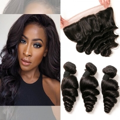 Brazilian Loose Wave Frontal with 3 Bundles Unprocessed Virgin Hair Extensions Ear to Ear 13x4 Lace Closure Frontal