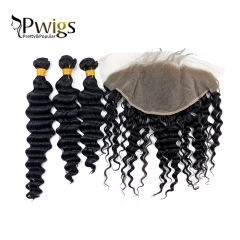 Remy Hair Deep Wave 13x6 Lace Closure With 3pcs Bundles Extensions Nature Human Hair