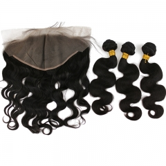 Pwigs Hair Body Wave 13x6 Lace Frontal Closure With Bundles Virgin Nature Hair