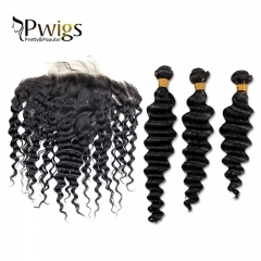Virgin Hair  Deep Wave 13x6 Lace Closure With 3pcs Bundles Extensions Nature Human Hair