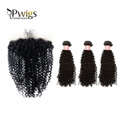 Kinky Curly bundles With 13x6 Lace Frontal Closure 100% Human Hair 4pcs Lot 8A
