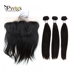 Straight Virgin Extensional Hair 13x6 Lace Frontal Closur With 3pc Bundles Baby Human Hair