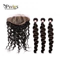 Brazilian Remy Hair Bundles With Frontal Loose Deep Wave 3 Bundles With 13x6 Lace Frontal Closure Human Hair