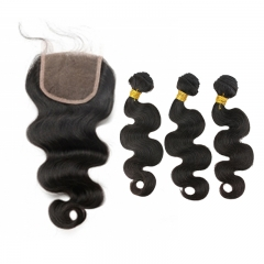 Body Wave 5x5 Lace Closure Brazilian Remy Baby Hair With Bundles Human Hair Natural Color