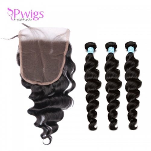 Loose Wave 5x5 Lace Closure With Baby Hair With Bundles Brazilian Remy Hair Human Hair Closure