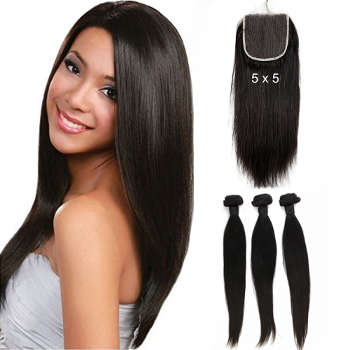 5x5 Straight Lace Closure With Baby Human Hair With Bundles Brazilian Remy Hair Closure Free Part Natural Color