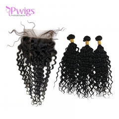 Curly 5x5 Lace Closure Unprocessed Brazilian Virgin Human Hair With Bundles Free Part for Black Women Natural Black