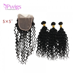 Curly 5x5 Lace Closure Unprocessed Brazilian Human Hair With Bundles Free Part for Black Women Natural Black