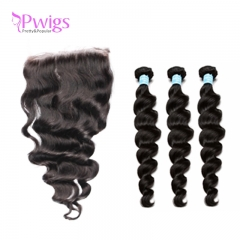 Loose Wave 5x5 Lace Closure With Baby Hair With Bundles Brazilian Remy Hair 100% Human Hair Closure
