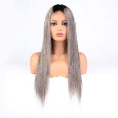 Ombre 1BT/Grey Brazilian Virgin Straight Human Hair Full Lace Wigs Cap 130% Density