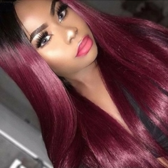 Human Hair Straight Lace Front Wigs  Real Brazilian Hair Ombre Black Roots 1B 99J Color