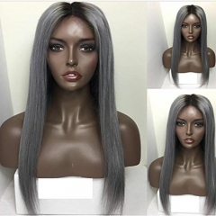 Virgin Straight Ombre 1bt/Grey Human Hair Wigs Peruvian Full Lace Wigs Cap & Lace Front Wig With Natural Hairline