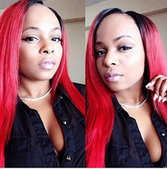 1bt/Red Ombre Straight For Women Mongolian Remy Hair Glueless Human Hair Wigs With Baby Hair