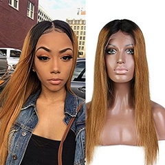 Brazilian Virgin Human Ombre 1bt/30 Lace Front Wigs for Women  Hair Wigs With Baby Hair