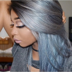 Virgin Straight Ombre 1bt/Grey Human Hair Wigs Peruvian Full Lace Wig & Lace Front Wig With Natural Hairline