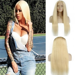613 Blonde Full Lace or lace Front Human Straight Wig Pure 613# Color For Black Women With Baby Hair