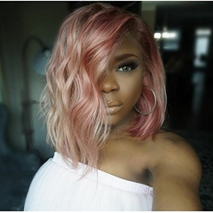 Best Quality Virgin Brazilian 1B / Pink Color Body Wave Human Hair Glueless Hair Wig With Natural Hairline